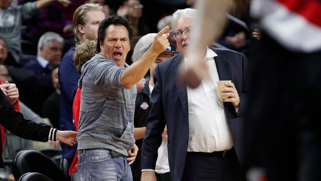Feb 28, 2017; Auburn Hills, MI, USA; Pistons owner Tom Gores reacts after a play during the fourth quarter against the Trail Blazers at the Palace. The Pistons won, 120-113, in overtime.