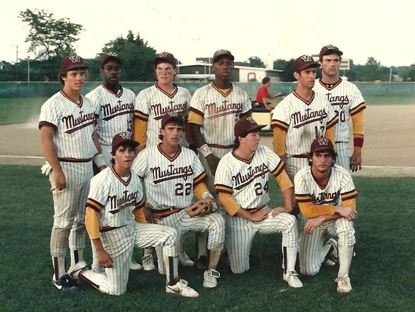 Western Hills High School's senior baseball players from the 1986 state championship team were, from left: Front, Jeff Homan, Troy Roark, Danny Johnson and Rick Neville; back, Brad Kuehn, Louis Hall, Jerry Schoen, Karl Rhodes, Greg Hissett and Mike Lindsey.