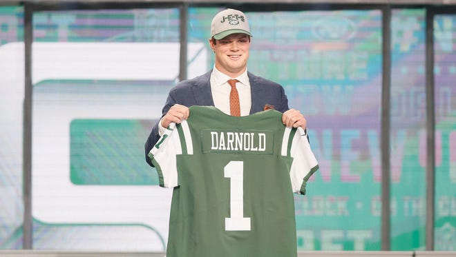 Apr 26, 2018; Arlington, TX, USA; Sam Darnold (Southern California) is selected as the number three overall pick to the New York Jets in the first round of the 2018 NFL Draft at AT&T Stadium.