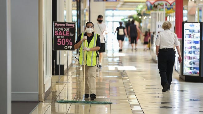 The Westgate Mall in Brockton has enhanced and frequent cleaning throughout the day on Wednesday, June 10, 2020, that will continue until further notice amid the coronavirus pandemic.