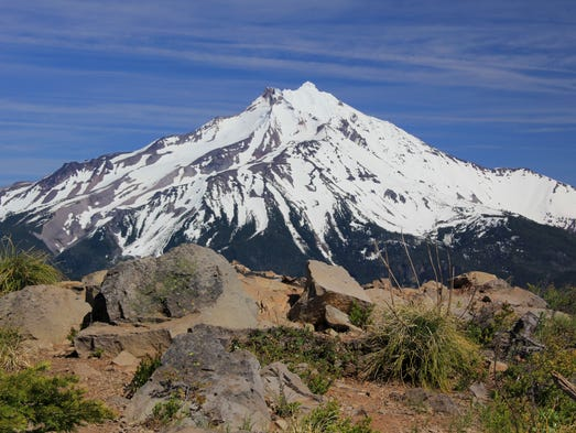 Best easy to moderate hikes near Detroit. No. 1 — Triangulation Peak Trail. Seen here is the summit and views of Mount Jefferson.