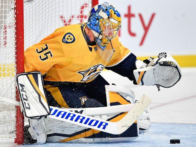 Nashville Predators goaltender Pekka Rinne (35) stops