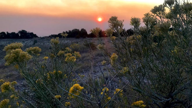 Wildfire smoke is turning morning skies red in Southern Colorado. This photo was taken Wednesday morning at B.F. Rockafellow Ecology Park in Canon City.