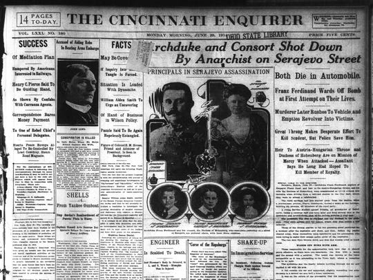 The Cincinnati Enquirer front page, June 29, 1914: