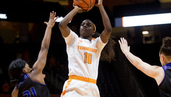 Tennessee guard Meme Jackson (10) attempts a shot during Tennessee's basketball game against Central Arkansas at Thompson-Boling Arena on Thursday, Nov. 30, 2017.