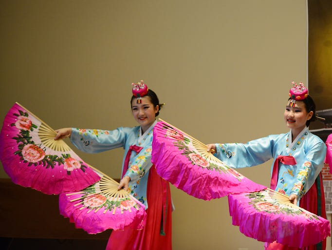 Dancers from The Traditional Korean Dance Academy perform