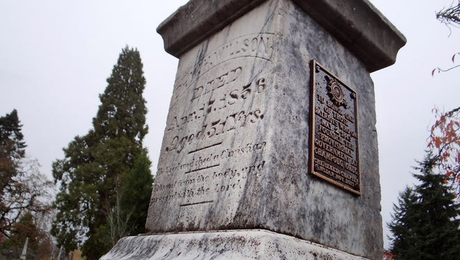 The commemorative tablet on the headstone of William H. Willson at Pioneer Cemetery in Salem, Oregon, has been replaced by the Chemeketa Chapter of the Daughters of the American Revolution. Willson was among those present at Champoeg on May 2, 1843, when a vote was held to form a provisional government.