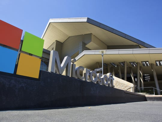 The Microsoft logo outside the company's campus.