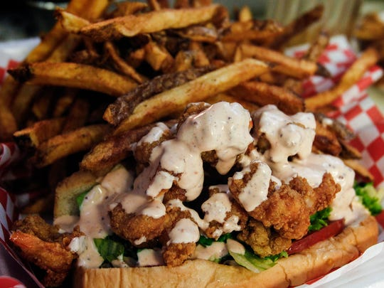 Fried shrimp po' boy with homemade remoulade sauce from the Fresh Gulf Shrimp.