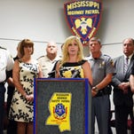 Twyla Jennings, division director of Mississippi Department of Public Safety, speaks at a press conference on Thursday about safe driving during the Labor Day weekend.
