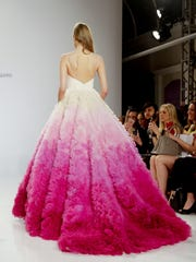 This pink ombre ball gown with a sweetheart neckline