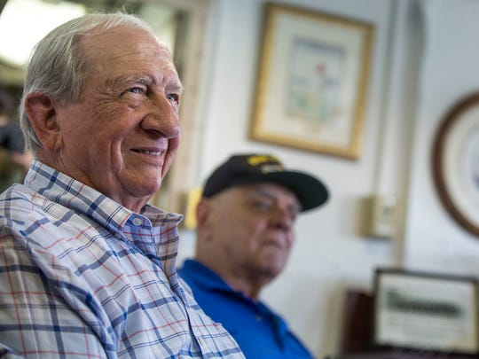 Charles Schmitzer III, who served on the USCGC Storis, recalls circumnavigating the Northwest Passage in 1957 Saturday, July 23, 2016 on the retired U.S. Coast Guard Cutter Bramble in Port Huron.