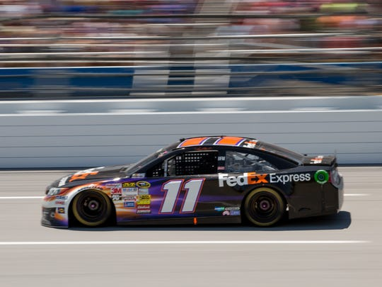 NASCAR Sprint Cup Series driver Denny Hamlin (11) during the Aaron's 499 at Talladega Superspeedway.