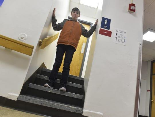 Sevastopol School sixth grader Gabe Kuehn demonstrates