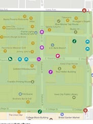 A map of the Downtown District's block party shows