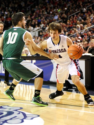 Kevin Pangos tries to get by Cal Poly guard Ridge Shipley
