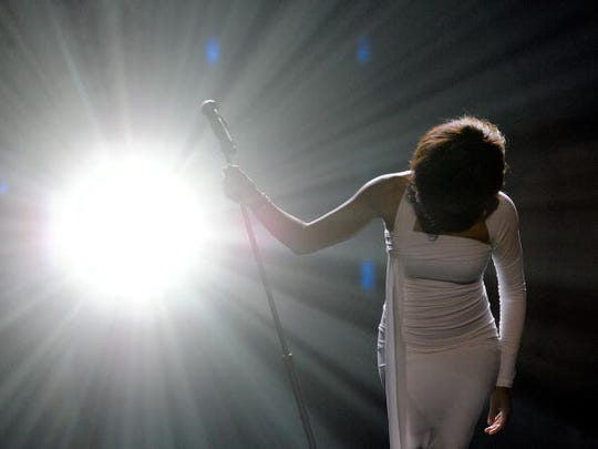 Whitney Houston performs onstage at the 2009 American Music Awards at Nokia Theatre L.A. Live on Nov. 22, 2009 in Los Angeles.