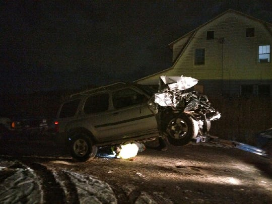 An SUV crashed into a Mount Pleasant Township residence on Feb. 9. The driver had to be taken to the hospital because of his injuries.