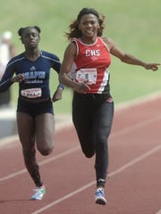 Cooper's Calah Harvey, right, races to the finish line in the girls 200 meters. She finished second in the event with a time of 25.60 seconds at the Region I-5A track and field meet Saturday, April 30, 2016 at Lowrey Field in Lubbock.  Joey D. Richards/Reporter-News   Cooper's Terreon Page, right, races Fort Worth Southwest's Roderick Ford to the finish line in the boys 100 meters. Paige finished third in the event in 10.66 seconds, while Ford was fourth (10.72).