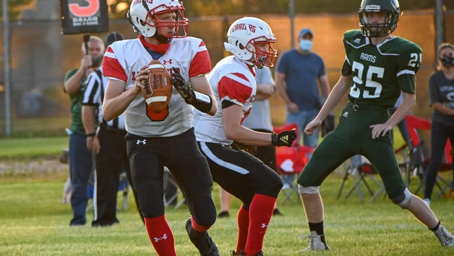 Litchfield Quarterback Lucas Lynn in game action from last season.
