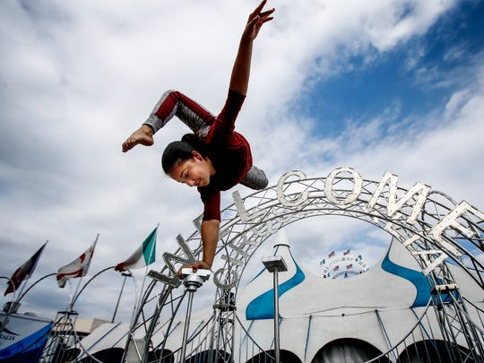 Contortionist Julliet Carballo, 15 and a sixth-generation circus performer, practices her routine while gearing up for the Cirque Italia-Water Circus.