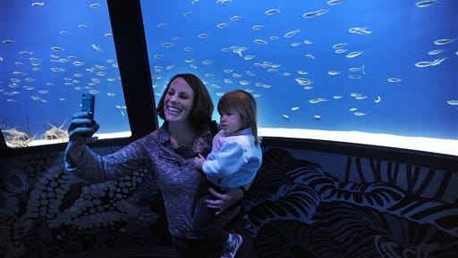 Lauren Weber, Howell, holds daughter Karina, 2, as they take a photo in the shoaling ring at SEA LIFE Michigan, a new 35,000 sq.-foot aquarium  in the Great Lakes Crossing mall in Auburn Hills, Mich. The new aquarium opened to the public on Thursday.