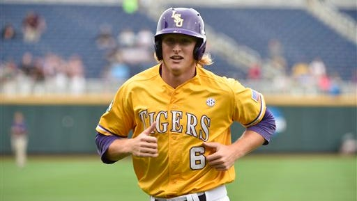 LSU outfielder Andrew Stevenson (6) runs during team practice at TD Ameritrade Park in Omaha, Neb., Friday, June 12, 2015. LSU plays TCU in an NCAA College World Series baseball game on Sunday. (AP Photo/Mike Theiler)