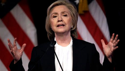 In this July 13, 2015, photo, Democratic presidential candidate Hillary Rodham Clinton speaks at a campaign event in New York.  The 2016 presidential contest is barely underway, and already donors have poured some $377 million into it, an Associated Press review shows. Clinton, the Democratic front-runner, has raised $45 million in checks of $2,700 or less for her campaign. Priorities USA Action, a super PAC that counts on seven-figure donors, raised an additional $15 million. Jeb Bush's money looks different. Before he officially declared his candidacy he spent the first six months of the year raising huge sums of money for Right to Rise, a super PAC that's boosting his bid to win the Republican nomination. That group says it has raised a record $103 million. Bush's presidential campaign, which officially began on June 15, collected $11.5 million from contributors.   (AP Photo/Seth Wenig)
