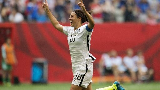 U.S. star Carli Lloyd celebrates her hat trick against Japan in the World Cup final, July 5 in Vancouver.