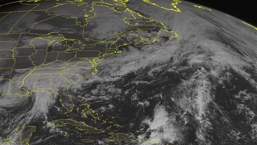 This NOAA satellite image taken Monday, Oct. 26, 2015, at 9:45 AM EDT shows high pressure and sunny skies across New England and the Mid-Atlantic. However, across the Carolinas and southern United States, the remnants of Patricia and another stationary front are combining to produce heavy rain. This rain has been causing flooding in parts of South after causing flooding in parts of Texas over the weekend. (Weather Underground via AP)