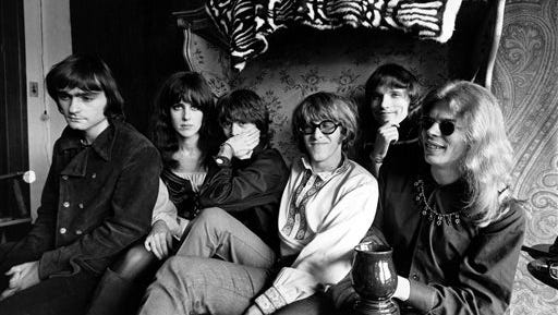 FILE - In this March 8, 1968 file photo, members of the rock group Jefferson Airplane pose for a photograph in San Francisco.  From left, Marty Balin, Grace Slick, Spencer Dryden, Paul Kantner, Jorma Kaukonen, and Jack Casady. Kantner died at a San Francisco hospital on Thursday.