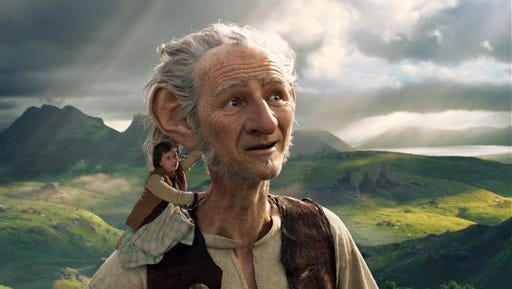 """This image released by Disney shows Ruby Barnhill and the Big Friendly Giant from Giant Country, voiced by Mark Rylance, in a scene from """"The BFG."""""""
