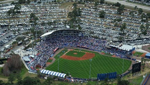 Baseball fans fill the stadium at Tradition Field in Port St. Lucie on Wednesday, March 9, 2016, as the New York Mets host the New York Yankees for spring training baseball. In 1988 the Mets moved from St. Petersburg to the Treasure Coast for spring training. Port St. Lucie has grown and changed a lot in that time.