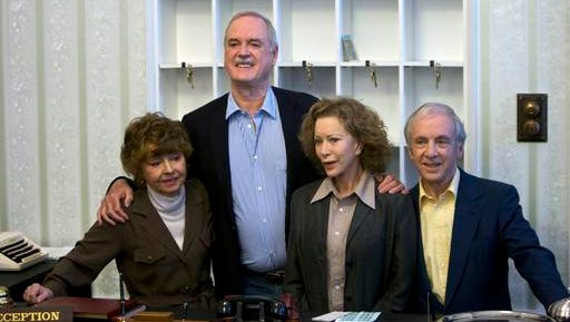 """FILE - In this Wednesday, May 6, 2009 file photo, the cast of TV comedy series Fawlty Towers, from left, Prunella Scales, John Cleese, Connie Booth and Andrew Sachs reunite to celebrate the 30th anniversary of the TV show and mark a special programe """"Fawlty Towers: Re-opened"""" at The Naval and Military Club, London. Comic actor Andrew Sachs, known primarily for his role as Manuel in the 1970s situation comedy Fawlty Towers, has died it was announced Thursday, Dec. 1, 2016. He was 86 and had been suffering from vascular dementia."""