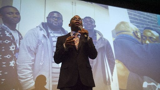 """December 10, 2016 - Jalen Washington, 17, practices his presentation for ManUp!, a male mentorship program, before a """"Pitch Night"""" event led by the organization Let's Innovate Through Education (LITE) at Memphis Bioworks Foundation."""