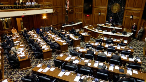 FILE - In this June 12, 2014, file photo, Indiana Senate President Pro Tempore David Long welcomes delegates meeting to set up the framework for states to amend the U.S. Constitution, at the Statehouse in Indianapolis. The 2016 November election put Republicans in full control of a record number of state legislatures around the country, a level of power that gives the party an unprecedented opportunity: change the U.S. Constitution. (AP Photo/Michael Conroy, File)