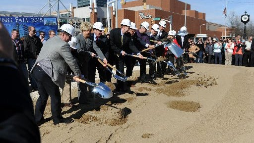 Local dignitaries at the March 2011 groundbreaking for the Hilton Doubletree that was to be build downtown. This  version of the hotel was never built.
