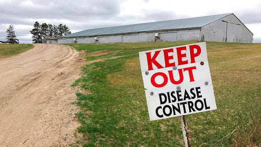 FILE - In this April 20, 2015 file photo, a sign warning visitors to stay away from an infected turkey farm in Melrose, Minn. The detection of a highly pathogenic strain of bird flu at a Tennessee chicken farm is reviving memories of a widespread domestic outbreak in 2015 that required the slaughter of millions of turkeys and chickens.
