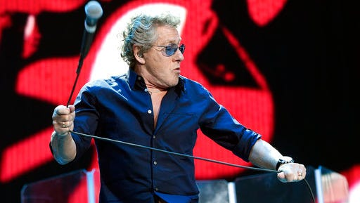 """FILE - In this Oct. 9, 2016, file photo, Roger Daltrey of The Who performs on day 3 of the 2016 Desert Trip music festival at Empire Polo Field in Indio, Calif. Daltrey told NME for a story published online on March 29, 2017 that """"a dead dog"""" would have beaten Hillary Clinton in the U.S. presidential election."""