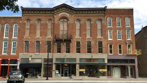 This photograph shows the restored Delphi Opera House, which overlooks the historic courthouse square in the northern Indiana city of Delphi. The preservation group that restored the Civil War-era building to its original grandeur has won a top award from rescuing the building. The Delphi Preservation Society will receive Indiana Landmarks' Cook Cup for Outstanding Restoration on April 29, 2017, in Indianapolis for the restoration project. (AP Photo/Courtesy of Anita Werling)