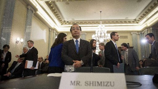 Was8881675.jpg Senior Vice President, Global Quality Assurance, for Takata Corporation Hiroshi Shimizu (C) prepares to testify before the US Senate Committee on Commerce, Science, and Transportation on Capitol Hill in Washington, DC, November 20, 2014, on the Takata airbag defects and the vehicle recall process. AFP PHOTO / Jim WATSONJIM WATSON/AFP/Getty Images