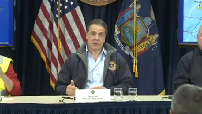 Gov. Andrew Cuomo on Thursday, Feb. 9, 2017, gave a briefing on the snow storm that hit New York City and its suburbs, cautioning drivers to stay off the roads.