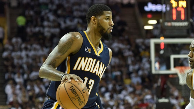Indiana Pacers forward Paul George in the second quarter against the Cleveland Cavaliers.