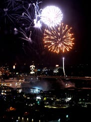 Fireworks over the city on Fourth of July.