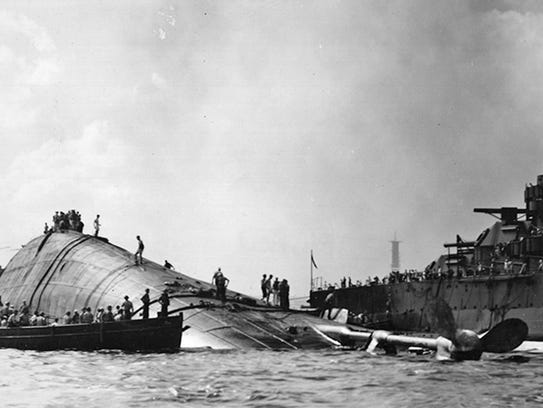 The USS Oklahoma was berthed on Battleship Row when