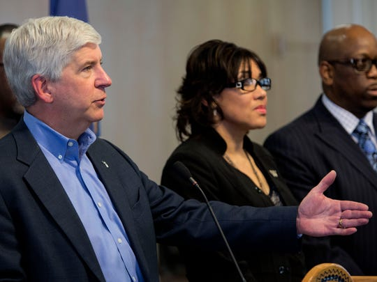 Gov. Rick Snyder listens and answers to questions from the press during the Flint water crisis press conference on Monday, Jan. 11, 2016 at City Hall in Flint. Tim Galloway/Special for DFP
