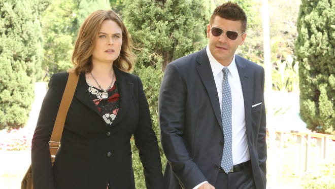 Emily Deschanel and David Boreanaz in Fox's 'Bones.'