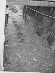 A crime scene photo from the interior of the barn on
