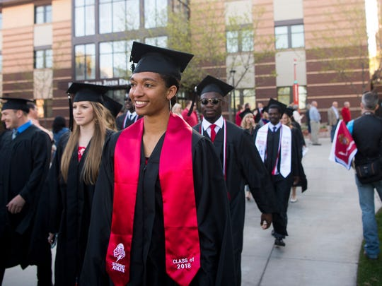 Southern Utah University graduates participate in Commencement celebrations on the SUU campus Friday, May 4, 2018.