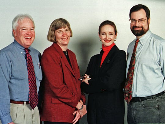 Columnists Joe Biddle, left, Mary Hance, Beth Stein